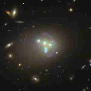 Hubble image of galaxy cluster Abell 3827 showing dark matter di
