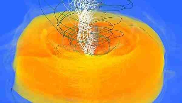 Dönen aktif bir kara deliğin tekilliğin hemen çevresindeki iç olay ufkunu gösteren bilgisayar simülasyonu. Simit şekilli sarı gaz halkasının patlama enerjisi büyük patlamadan güçlü olabilir. Şansımıza bunun kara deliğin dışına çıkması imkansız. Çünkü süper sıcak gazlar ışıktan hızlı şekilde kara deliğin dışına savrulmak isterken, ışıktan hızlı şekilde kara deliğin içine düşen yeni gaz akışıyla çarpışıp iç olay ufkunda kalıyor! Böylece iç olay ufkunun çevresinde simit şekilli ve girdaplı bir plazma akışı oluşuyor.