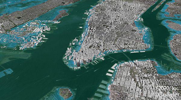 Deniz seviyesi 60 metre yükselirse New York resimdeki gibi kısmen su altında kalmaz. tümüyle su altında kalır. İstanbul'un büyük kısmı da.