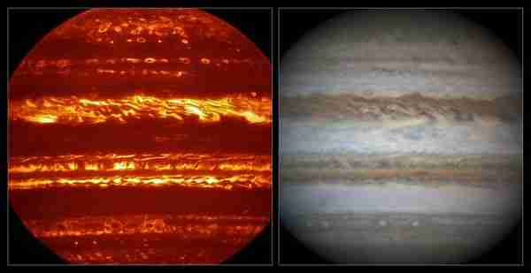 Comparison ofJuno-jüpiter-karanlık_hidrojen-nasa-gezegen VISIR and visible light views of Jupiter